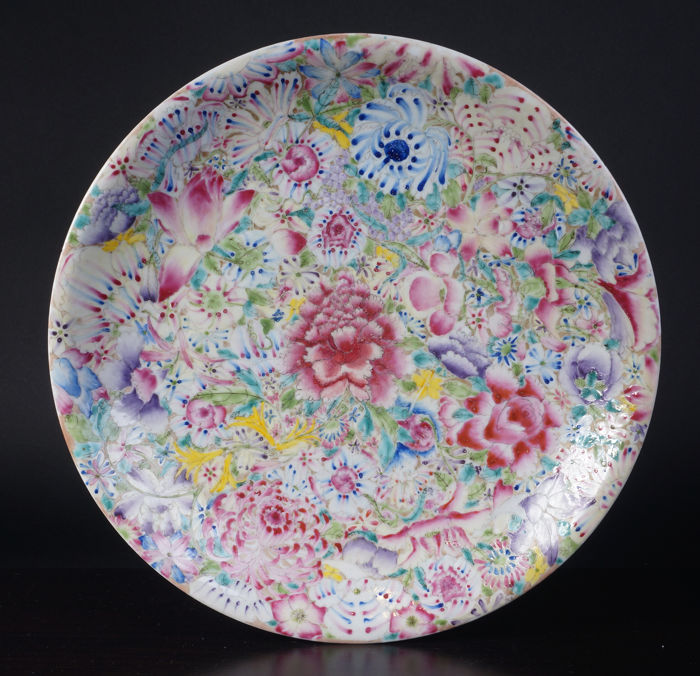 Porcelain Mille Fleur dish - China - early 20th century (republic period)