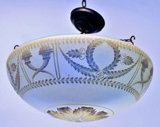 glass bowl lamp, with very ornate decoration, France, early 20th century