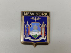 USA Badge - Vintage Brass and Enamel New York State Car Badge Auto Emblem  - 80 x 60 mm