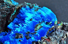 Natural blue fibrous Chalcanthite crystals on matrix - 9.3 X 6.5 X 4.3 cm - 152 gm