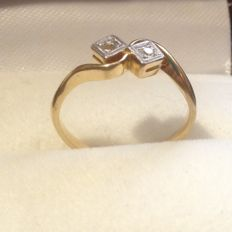 18kt and Platinum Diamond Ring,  Ring Size 5.25 (USA)K1/4, 15.90mm