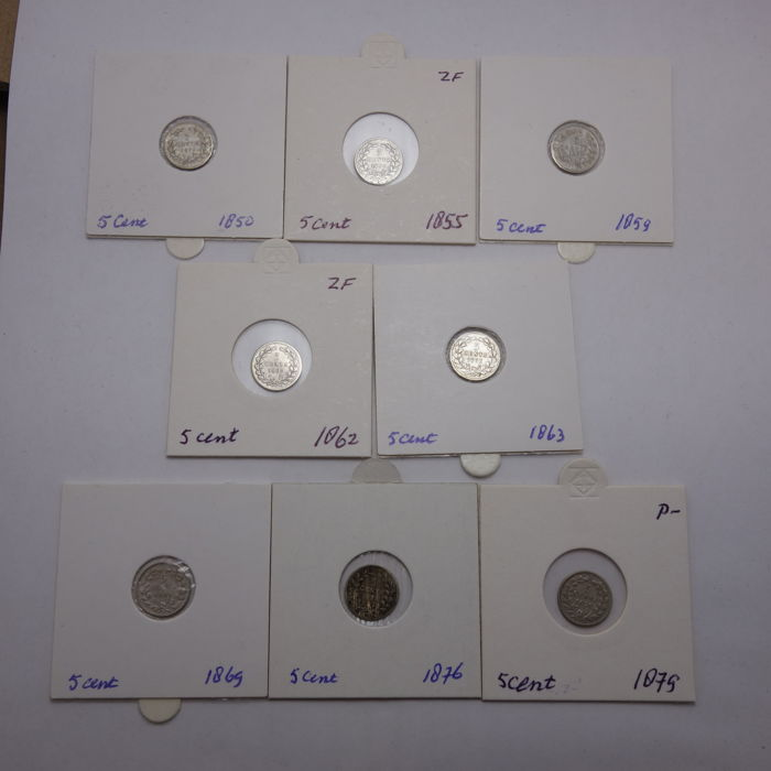 The Netherlands - 5 cents 1850/1879, Willem III - 8 different coins - silver