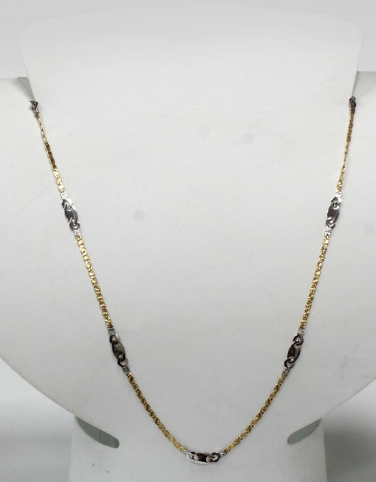 18 kt - Necklace solid bi-colour of yellow and white gold - Length: 45 cm