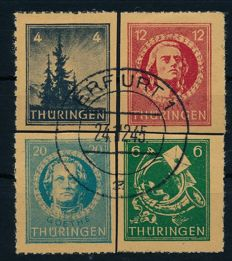 "Soviet Zone Thuringia – 1945 – ""Postal stamps of the big Christmas block"" – Michel 103t-106t with photographic certificate Ströh BPP"
