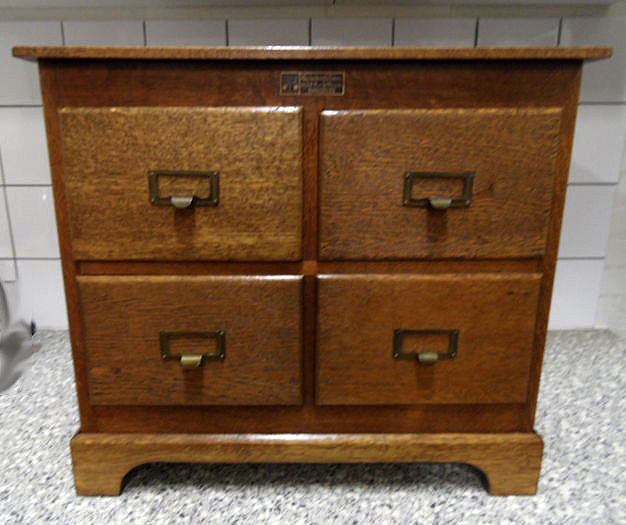 Attirant Square Oak Filing Cabinet With Four Drawers   Tagged With Label  Vanderborght Freres   Originally Made