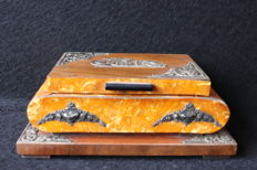 Jewels box , wood , mother pearl and silver details - Portugal 19th century