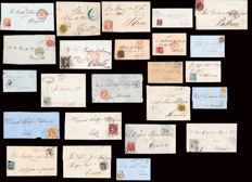 Spain 1851/1870 - Lot of 24 pieces of Seville postal history.