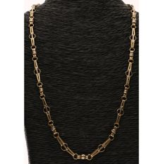 14 kt, Bi-colour, yellow and white gold link necklace - Length: 47 cm