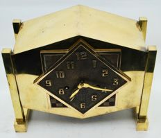 Art Deco Brass Mantel Clock with four pillars and bronze dial - c. 1915, the Netherlands