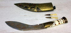 Large Gurkha Kukhri dagger in leather sheath with brass decorations - Nepal