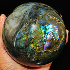 "Pink & Blue Flash Labradorite ""healing ball"" - 102 mm - 1224 gm"