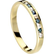 14 k Yellow gold ring set with Sapphire and Zirconia - Inner diameter 18.25 mm