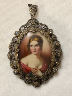 Brooch/pendant in 800 silver and 750 gold - Central miniature painting