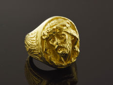 Gentlemen's signet ring with Christ face on head - Weight: 26.2 g. *** No reserve price ***