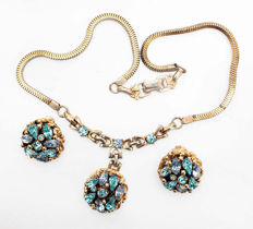 Signed BARCLAY - LOUIS MARK - Demi Parure - Necklace & earrings with topas blue rhinestones - 1950s