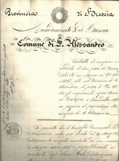 Manuscript; Deed of sale of two plots of land by the municipality of San Alessandro, Brescia-1881