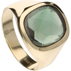 14 kt Yellow gold ring set with a green quartz - Inner size: 22.25 mm