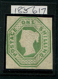 Great Britain 1847 Queen Victoria - 1 shilling pale green, Stanley Gibbons 54 Die WW2