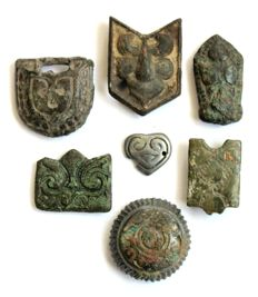 Early medieval period,  bronze belt accessories  - 12 - 27 mm (7)