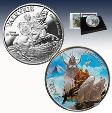 United States - Norse Gods Series Medal - Freya Goddess of Love colour tone - with box and certificate - 1 oz silver