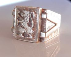 Beautiful signet ring with engraved roaring lion detail, 14 kt gold, weight: 8.23 g - size: 62.50