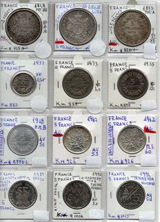 France - 5 Francs 1848/1994 (lot of 12 coins) including 5 silver