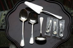 Christofle Silver plated set serving spoons and cake server