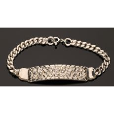 925 Silver gourmet link bracelet with decorated stylized centrepiece - Length: 19 cm