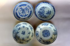 4 plates with different motifs painted in blue and white - China circa 18th/19th century