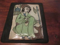Tile with a woman with an axe and Animal - Iran - Late 19th century