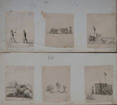 "Stefano Della Bella (1610-1664) Six extracted engraving ""Military Scenes"" Circa 1640"