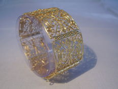 Antique Victorian wide bracelet of finest filigree design.
