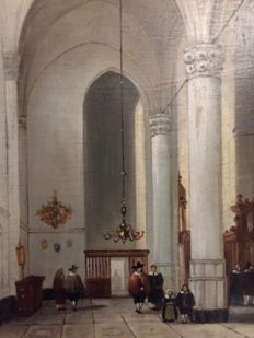 Dutch school (20th century) - Kerk interieur