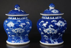 Set of porcelain blue and white lidded vases - China - Circa 1900