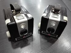 2 Kodak Brownie Flash cameras with a Flash B, boxed