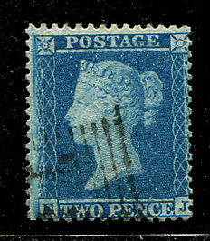 Great Britain Queen Victoria 1854/1857 - Two pence blue, Stanley Gibbons 23a, watermark Large Crown, perforation 14