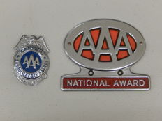Original Vintage AAA American Automobile Association National Award Car Badge Auto Emblem and AAA Captain Patrol Badge