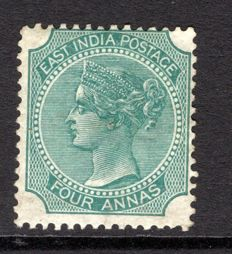 India 1866 - 4a deep green - Stanley Gibbons 70