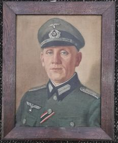 Large WWII oil painting Wehrmacht Army Soldier iron cross 2nd class