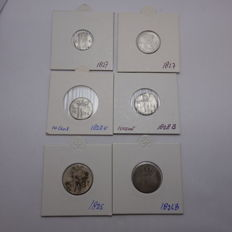 The Netherlands - 5 cent through 25 cent, 1825/1828, lot of 6 coins, Willem I - silver