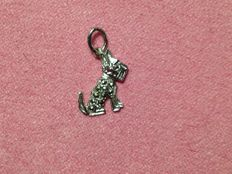 Book photo pendant and small terrier dog pendant with marcasite stones