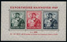 Allied occupation – 1949 – export exhibition Hannover 30 pf. Black purple ultramarine, Michel block 1 c with photographic certificate Schlegel BPP