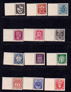 France 1943/1959 - Selection of 14 series including Celebrities and Coats of Arms with sheet border.