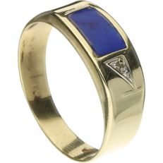 14 kt Yellow gold ring set with lapis lazuli and a brilliant cut diamond of approx. 0.005 ct - inner size 19 mm