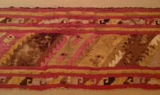 Pre-Columbian Chimu large textile fragment with birds and wave motives - Peru - 56 cm