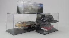 IXO Models, Opel Collection Spoor 0 - scale 1:43 - four model cars including Opel truck and two passenger cars and Mercedes Benz truck