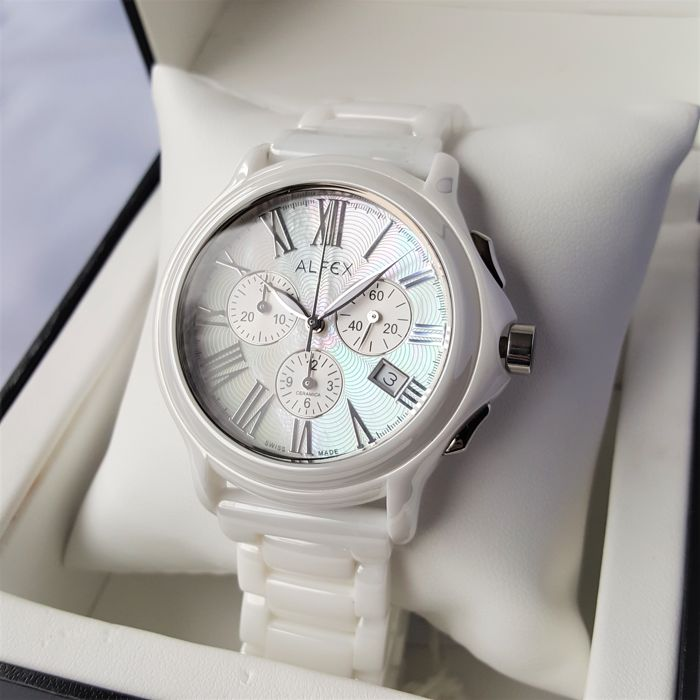 Alfex swiss made ceramica chronograph ladies 2018 new complete in box catawiki for Ceramica chronograph