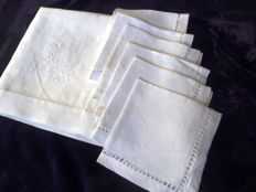 High quality JUGENDSTIL small table cover made of the finest handwoven linen with hemstitch embroidery 6 dto.