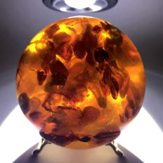 Spectacular sphere with natural Baltic amber on the stand - 74 mm - 255 gm