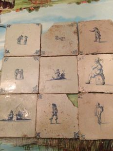 9 damaged tiles - persons, children's games, and animals